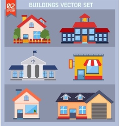 Modern flat buildings set vector