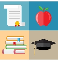 pile of books graduation cap diploma apple vector image
