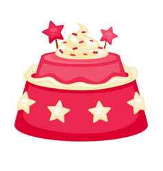 Pink creamy cake with decorations in form of stars vector