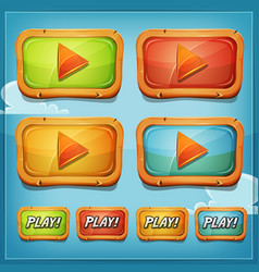 Play buttons and icons for game ui vector