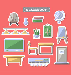 school classroom furniture icon set vector image