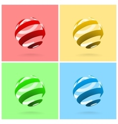 Set of Abstract Globe Rotating Arrows vector image vector image