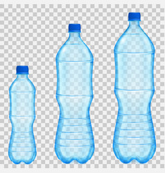 Set of transparent plastic bottles vector
