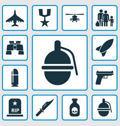 Warfare icons set collection of slug cutter vector
