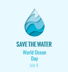 world ocean day - waterdrop banner vector image vector image