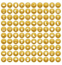 100 landscape icons set gold vector