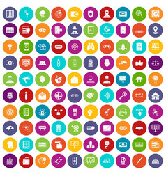 100 security icons set color vector
