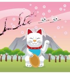 Lucky cat japan culture design vector