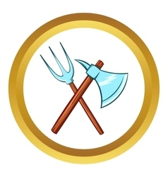 Ancient axe and trident icon cartoon style vector
