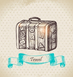Hand drawn vintage background with travel suitcas vector