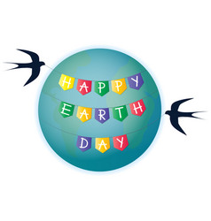 swallows with a garland of flags happy earth day vector image