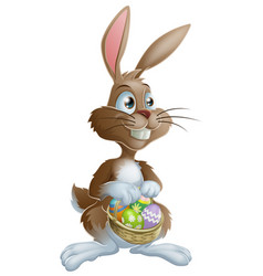 easter bunny rabbit holding easter eggs basket vector image