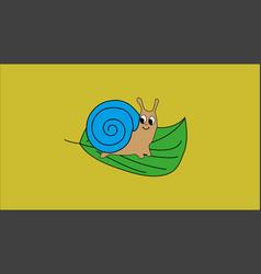 Little snail sitting on green leaf vector
