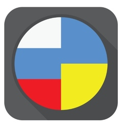 Dark grey round edge button with ukraine vector