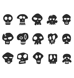 funny skull icons set vector image