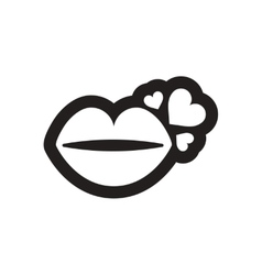 Flat icon in black and white kiss heart vector image