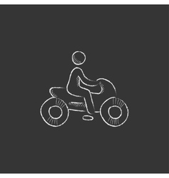 Man riding motorcycle drawn in chalk icon vector