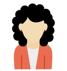 Caucasian woman black curly hair vector