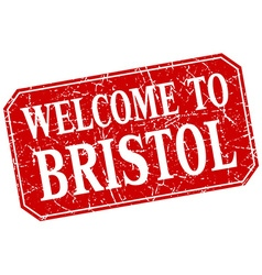Welcome to bristol red square grunge stamp vector