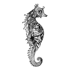 Abstract graphic sea horse print vector