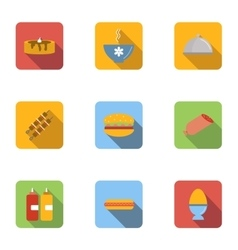 Breakfast icons set flat style vector