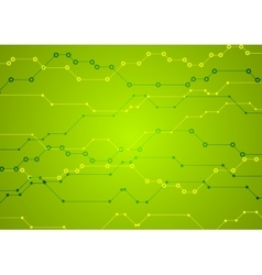 Bright green tech circuit board background vector image vector image