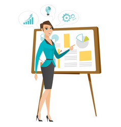 Business woman giving business presentation vector