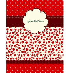 Card with cherries pattern for your design vector image