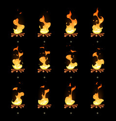 cartoon bonfire flame animated sprites vector image