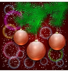christmas with tree branch and balls on bokeh vector image