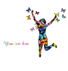 collorful with silhouette of girl jumping and vector image vector image