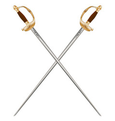 crossed infantry swords vector image vector image