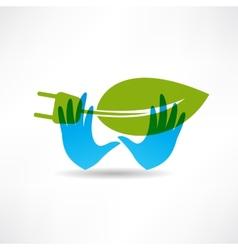 Environmental socket blue hands icon vector