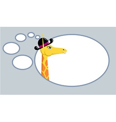 Giraffe with think bubble vector image vector image