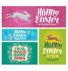 happy easter banner lettering vector image vector image