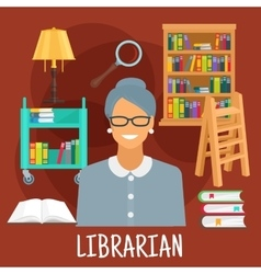 Librarian with books icon for profession design vector