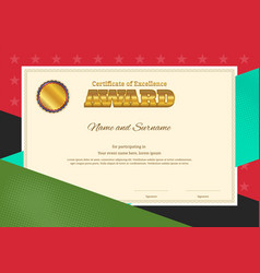 modern award certificate template with colorful vector image