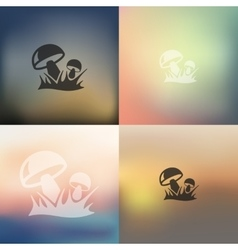 mushrooms icon on blurred background vector image