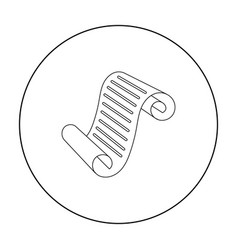 Paper scroll icon in outline style isolated on vector