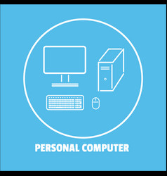 personal computer icon isolated background vector image vector image