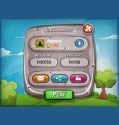 player profile with options for game ui vector image vector image