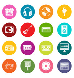 Recording studio items icons many colors set vector