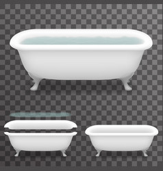 Retro bath with water realistic 3d parallax vector