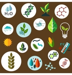 Science and agronomic research flat icons vector