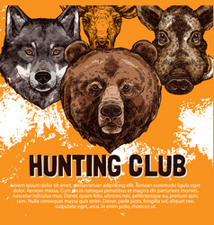 sketch poster of wild animals hunting club vector image vector image