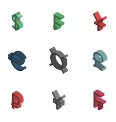 Symbols of world currencies isometric vector