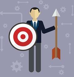 Target businessman strategy concept flat modern vector image vector image