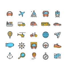 Transportation Outline Icon Set vector image