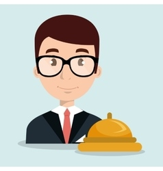 Receptionist employee man hotel vector