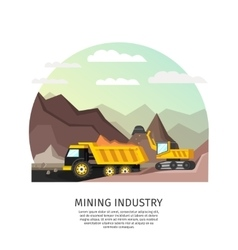 Pit mining industry concept vector